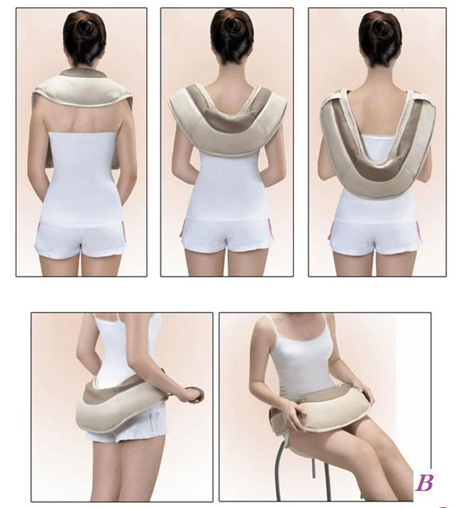 Máy massage vai cổ gáy, đai đeo massage vai gáy hồng ngoại, đai đấm lưng Nhật